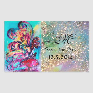 Small Elf of Mushrooms Save The Date Monogram Rectangular Sticker