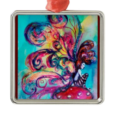Halloween Themed SMALL ELF OF MUSHROOMS VIBRANT RUBY METAL ORNAMENT