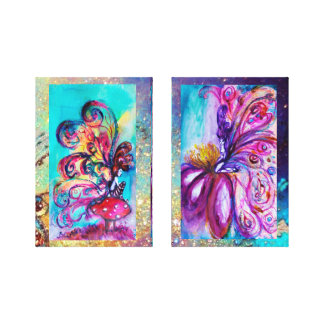 SMALL ELF & WHIMSICAL CUTE FAIRY IN PINK AND GOLD CANVAS PRINT