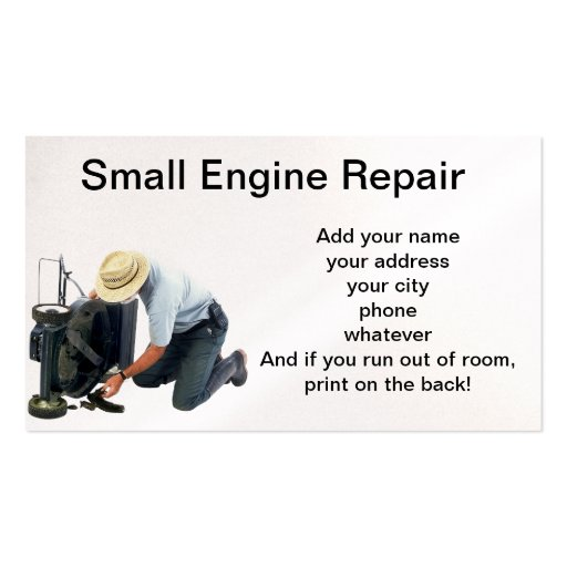 Small engine repair double sided standard business cards for Small business card