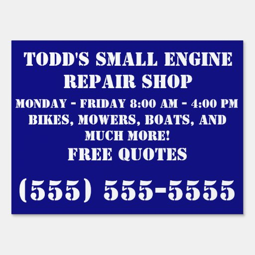 Landscape Commercial Sign: Small Engine Repair Business Lawn Sign
