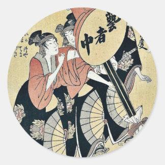 Small festival lantern by Kitagawa, Utamaro Ukiyo Classic Round Sticker