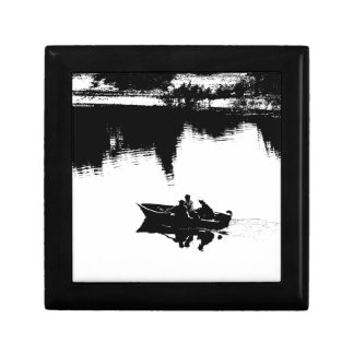 Small Fishing Boat in Pen and Ink Keepsake Box