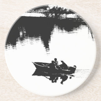 Small Fishing Boat in Pen and Ink Sandstone Coaster