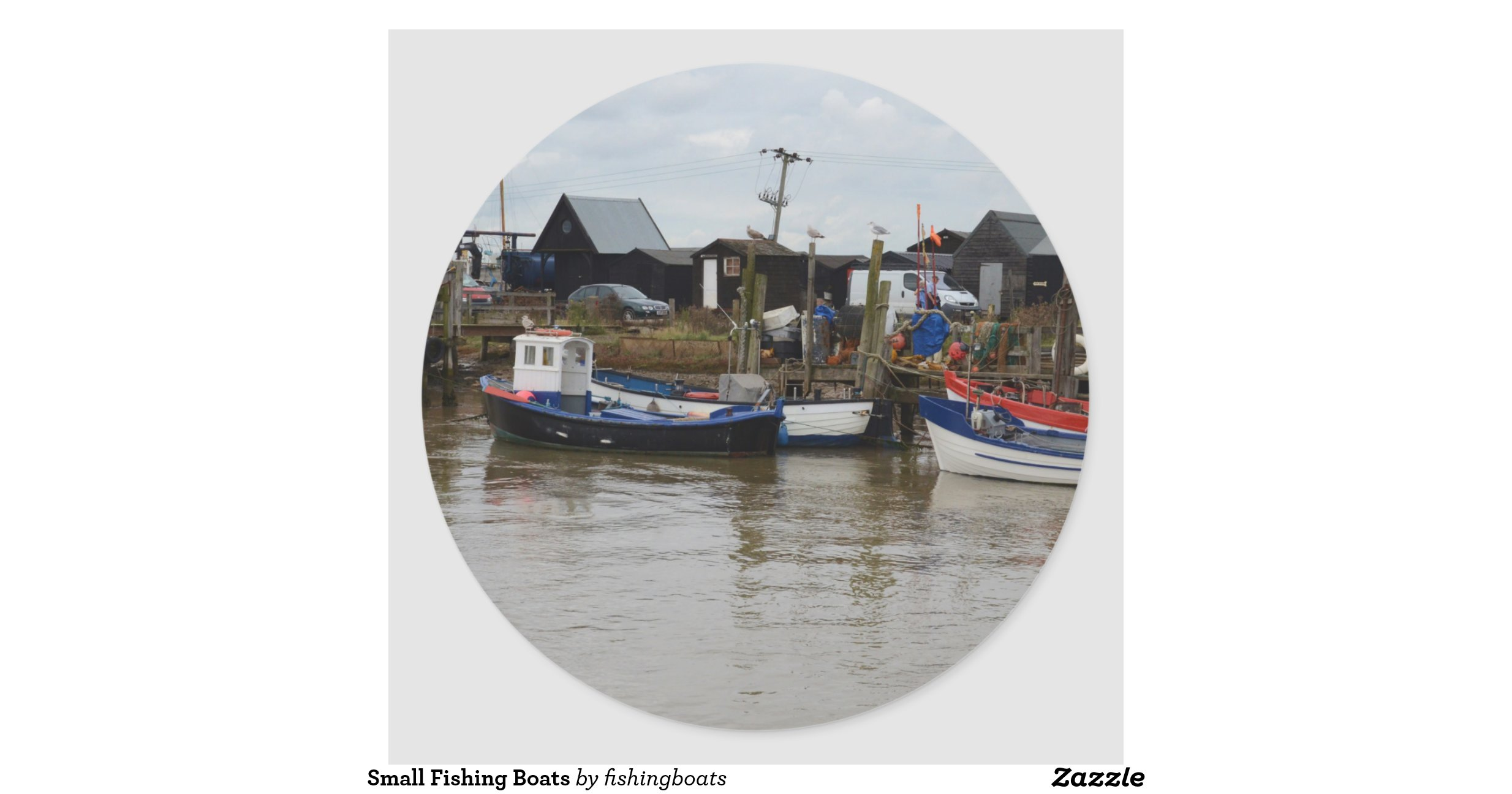 Small fishing boats classic round sticker for Round fishing boat