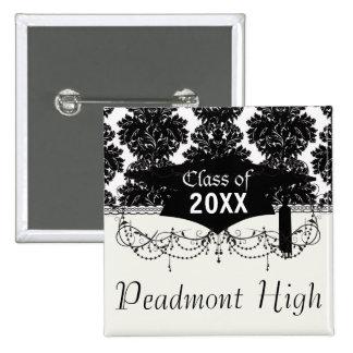 small flourish black white damask design 2 inch square button