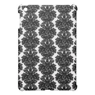 small flourish black white damask design iPad mini cover