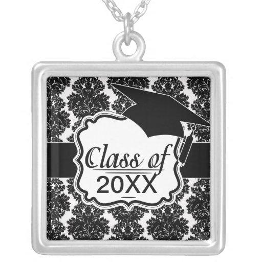 small flourish black white damask design jewelry