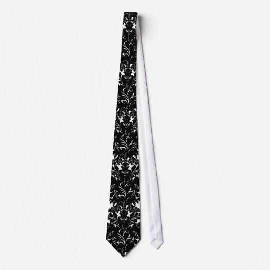 small flourish black white damask design tie