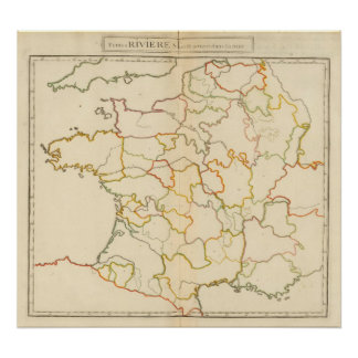 Small French Rivers Outline Poster