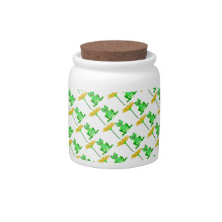 small frog and yellow flower candy jars