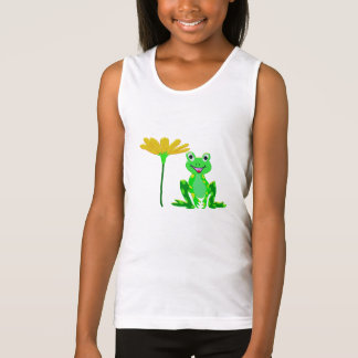 small frog and yellow flower tank top