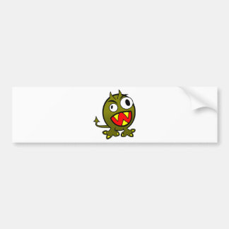 Small Funny Angry Green Monster Car Bumper Sticker