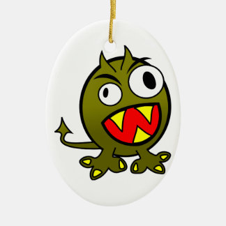 Small Funny Angry Green Monster Ceramic Ornament