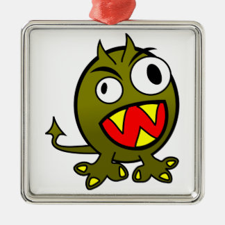 Small Funny Angry Green Monster Metal Ornament
