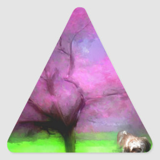 small girl pink tree and maya.jpg triangle sticker