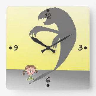 Small Girl with a Naughty Shadow Funny Wall Clock