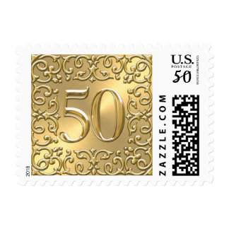 SMALL Gold 50th Anniversary Postage Stamp