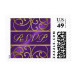 SMALL Gold and Purple Filigree RSVP Postage Stamp