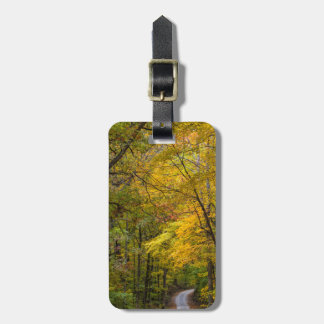 Small Gravel Road Lined With Autumn Color Tag For Luggage