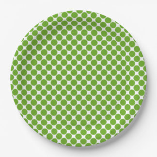 Small Green Apple Polka Dots on White Paper Plate