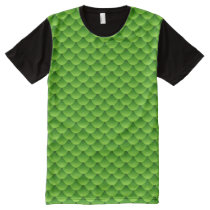 Small Green Fish Scale Pattern All-Over-Print T-Shirt