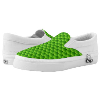 Small Green Fish Scale Pattern Printed Shoes