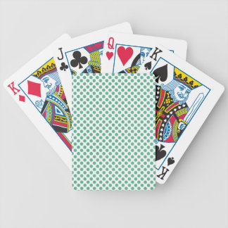Small green polka dots on white background bicycle card decks