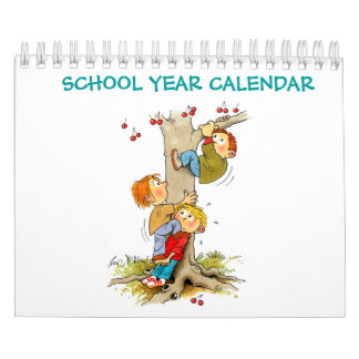 Small Green School Year Calendar For Kids