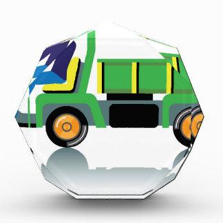 Small green utility truck acrylic award
