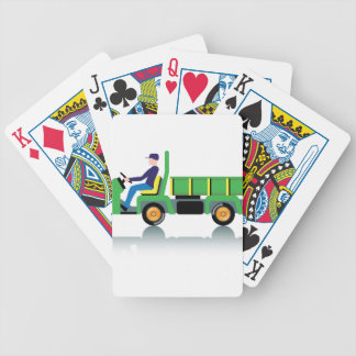 Small green utility truck bicycle playing cards