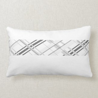 Small Grey Plaid Decorative Pillow