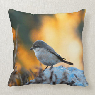 Small grey sparrow bird throw pillow