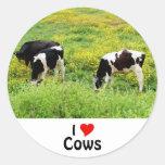 Small herd of bulls classic round sticker