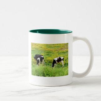 Small herd of bulls Two-Tone coffee mug