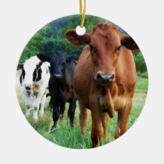 Small Herd of Three Cows Double-Sided Ceramic Round Christmas Ornament