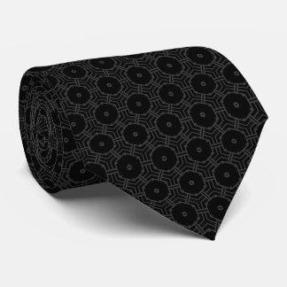 small hexagons pattern graphic design black neck tie