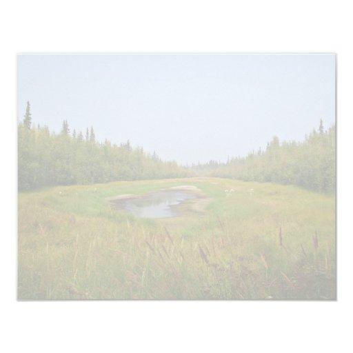 "Small hidden lake on the Flats 4.25"" X 5.5"" Invitation Card"