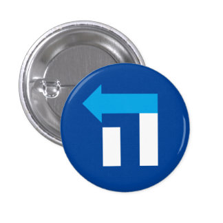 Small Hillary Hebrew Hey Button - Blue/White