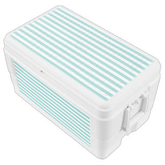 Small Horizontal Aqua Stripes Chest Cooler