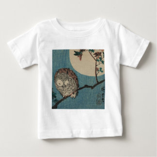 Small Horned Owl on Maple Branch under Full Moon Baby T-Shirt