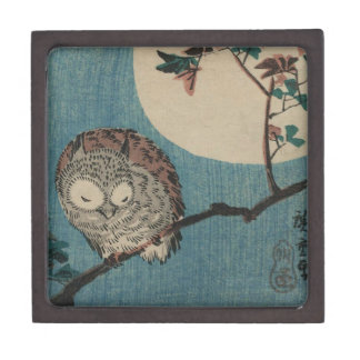 Small Horned Owl on Maple Branch under Full Moon Jewelry Box