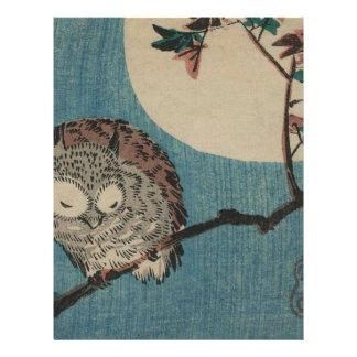 Small Horned Owl on Maple Branch under Full Moon Letterhead