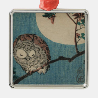 Small Horned Owl on Maple Branch under Full Moon Metal Ornament