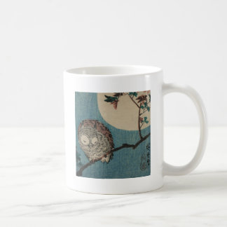 Small Horned Owl on Maple Branch under Full Moon Classic White Coffee Mug
