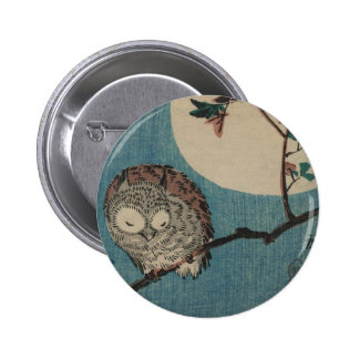 Small Horned Owl on Maple Branch under Full Moon Pinback Button