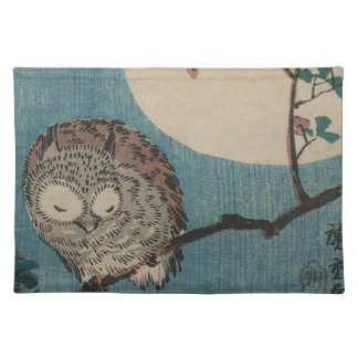 Small Horned Owl on Maple Branch under Full Moon Placemat