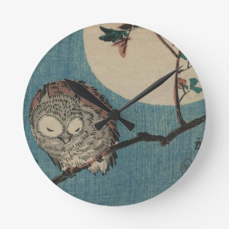 Small Horned Owl on Maple Branch under Full Moon Round Clock