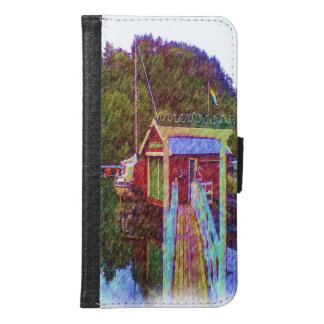 small house and sea Painting photo Samsung Galaxy S6 Wallet Case