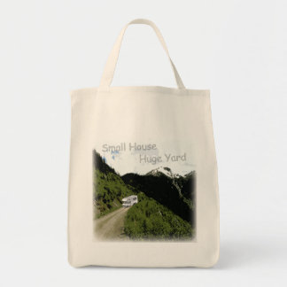 """""""Small House. Huge Yard."""" RV Themed Grocery Tote Grocery Tote Bag"""